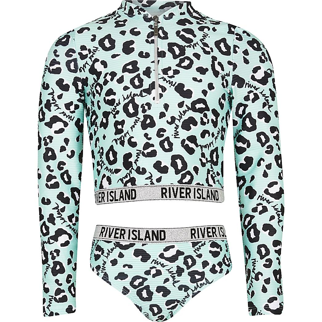 Girls green RI animal print swim set