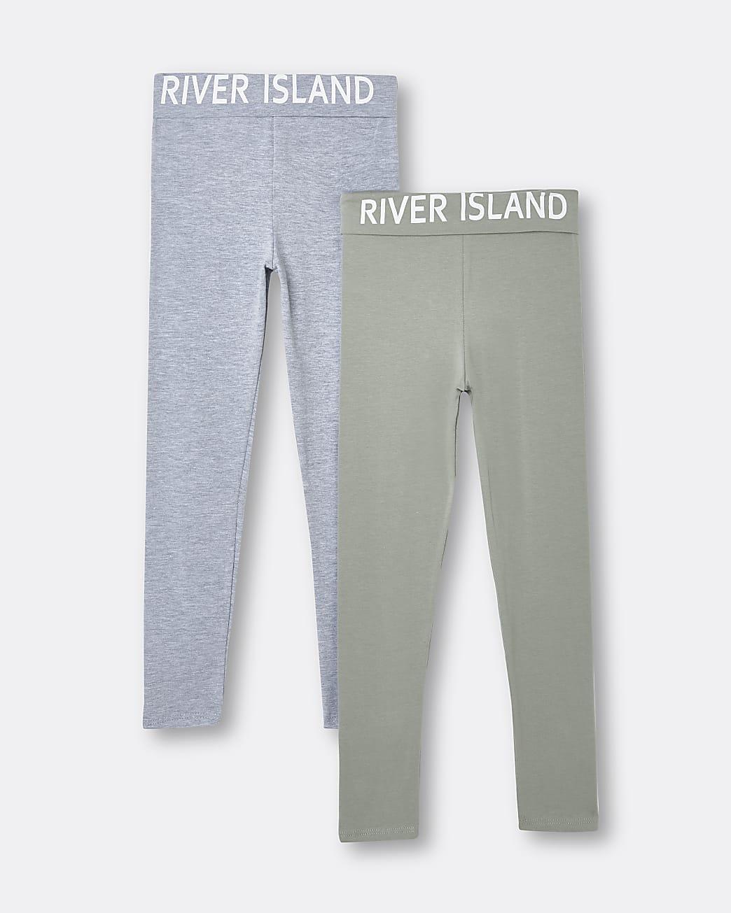 Girls green RI branded leggings 2 pack