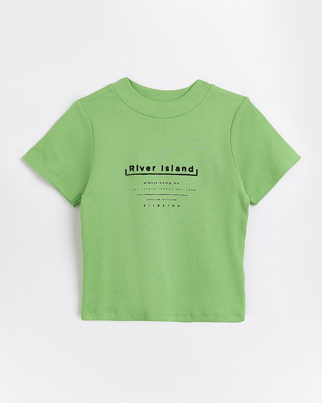 Girls green RI graphic ribbed t-shirt