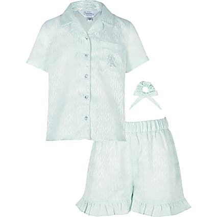Girls green RI monogram satin pyjama outfit