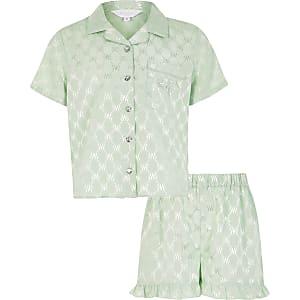 RI – Grüner Satin-Pyjama mit Monogram-Muster für Mädchen
