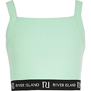 Girls green RI square neck crop top