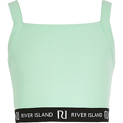Girls green RI square neck crop top