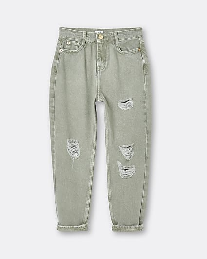 Girls green ripped mom jeans