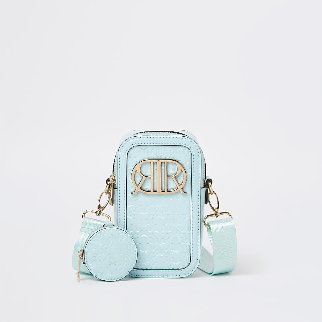 Girls green RIR monogram cross body bag
