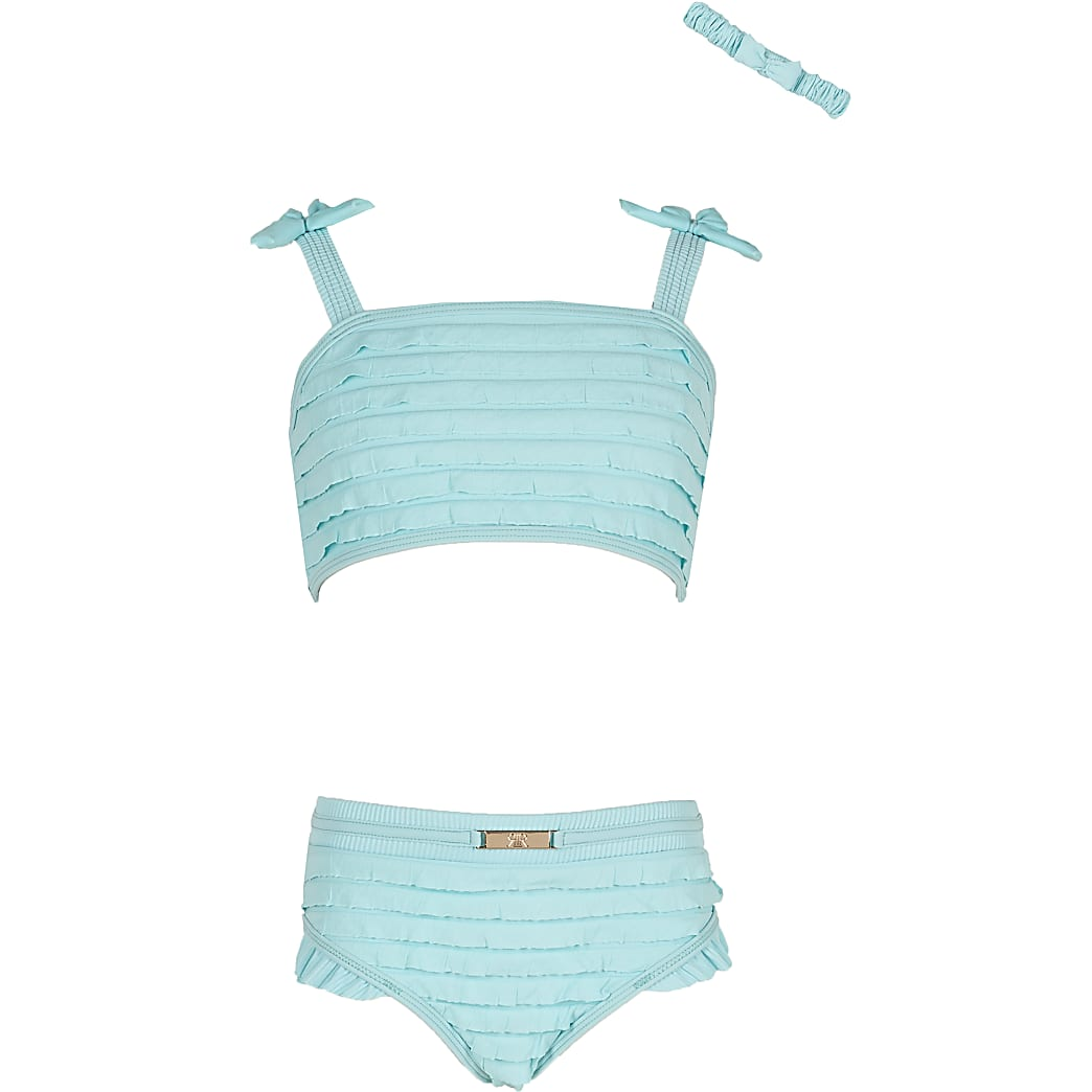 Girls green ruffle bikini set