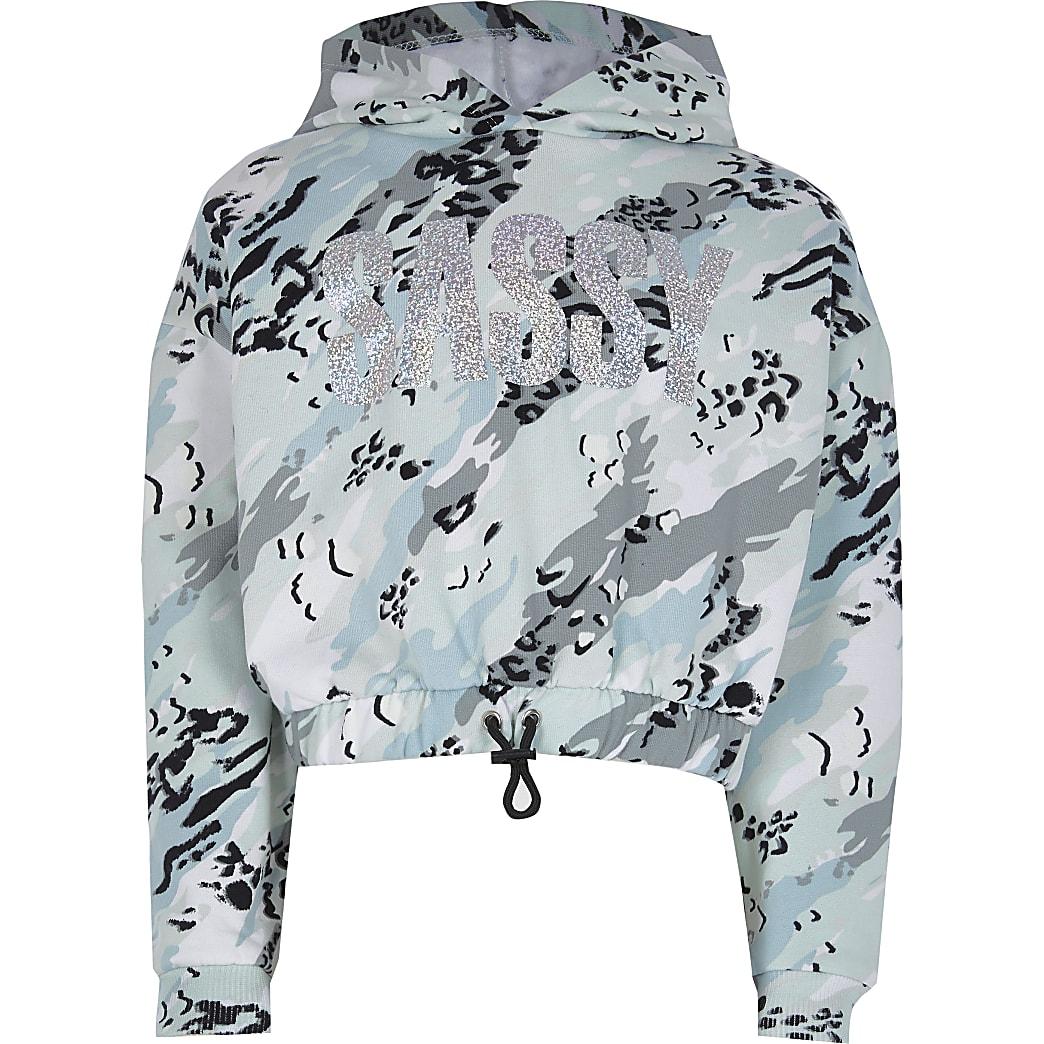 Girls green 'Sassy' camo print hoodie