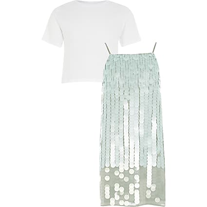 Girls green sequin dress and T-shirt outfit