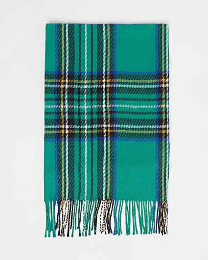 Girls green tartan print scarf