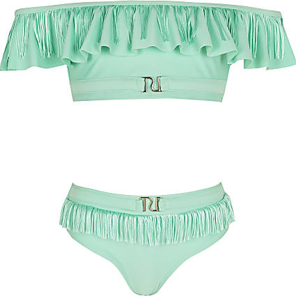 Girls green tassel bardot bikini set