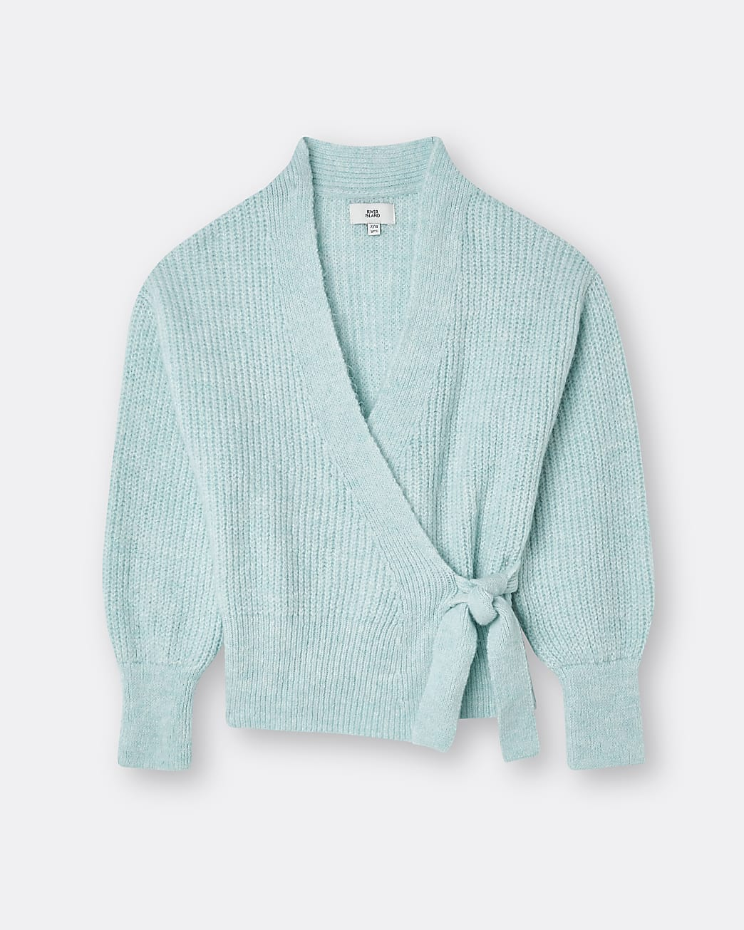 Girls green tie waist knit cardigan