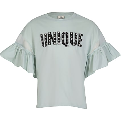 Girls green 'Unique' frill sleeve t-shirt
