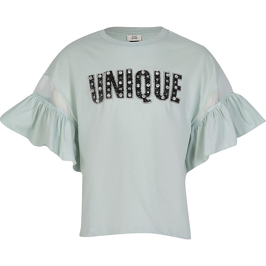 Girls green 'Unique' frill sleeve t-shirt