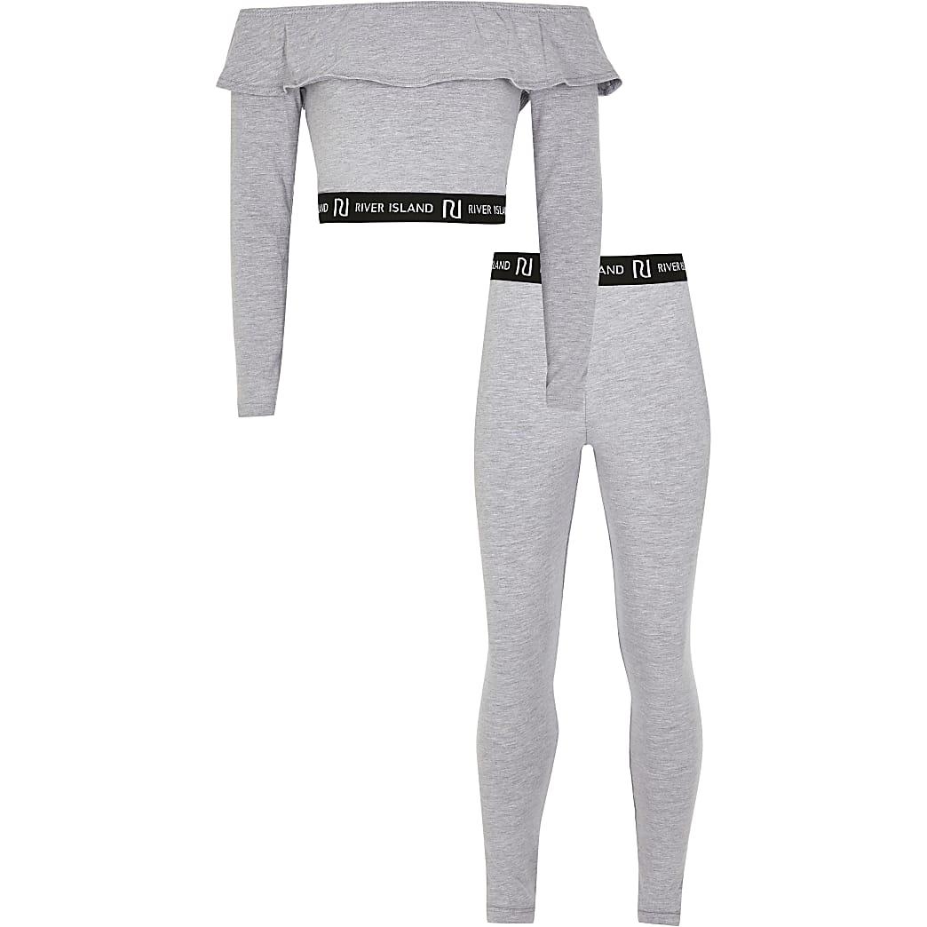 Girls grey 2 part bardot and legging set
