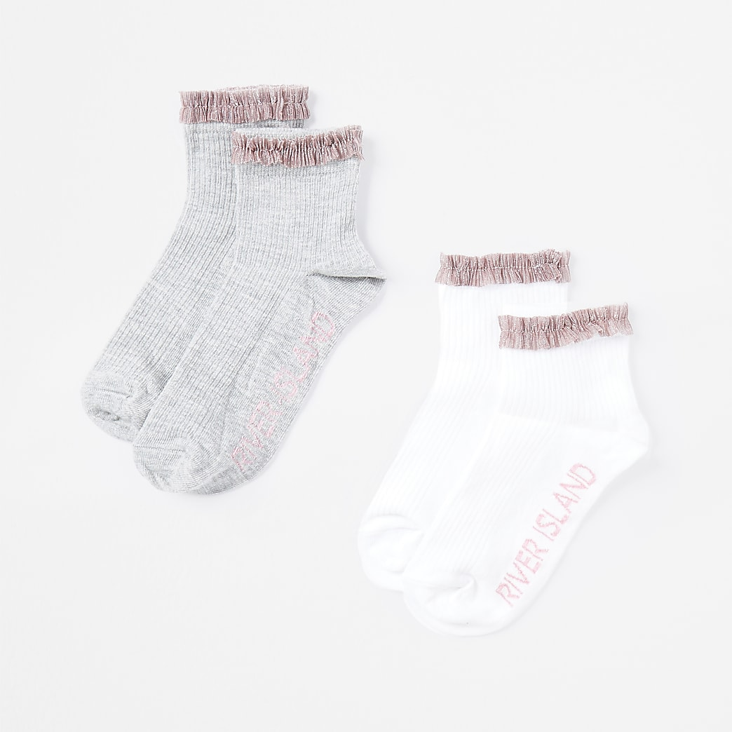 Girls grey and pink  frill ankle socks 2 pack