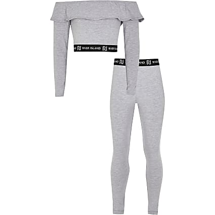 Girls grey bardot and leggings outfit