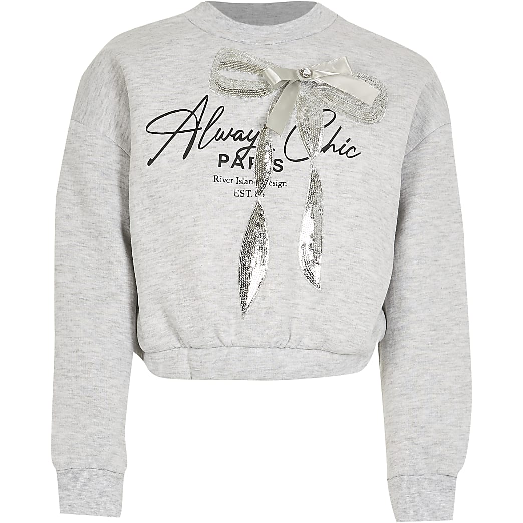 Girls grey bow cinched sweatshirt