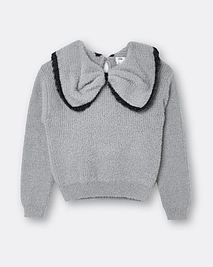 Girls grey bow collar jumper