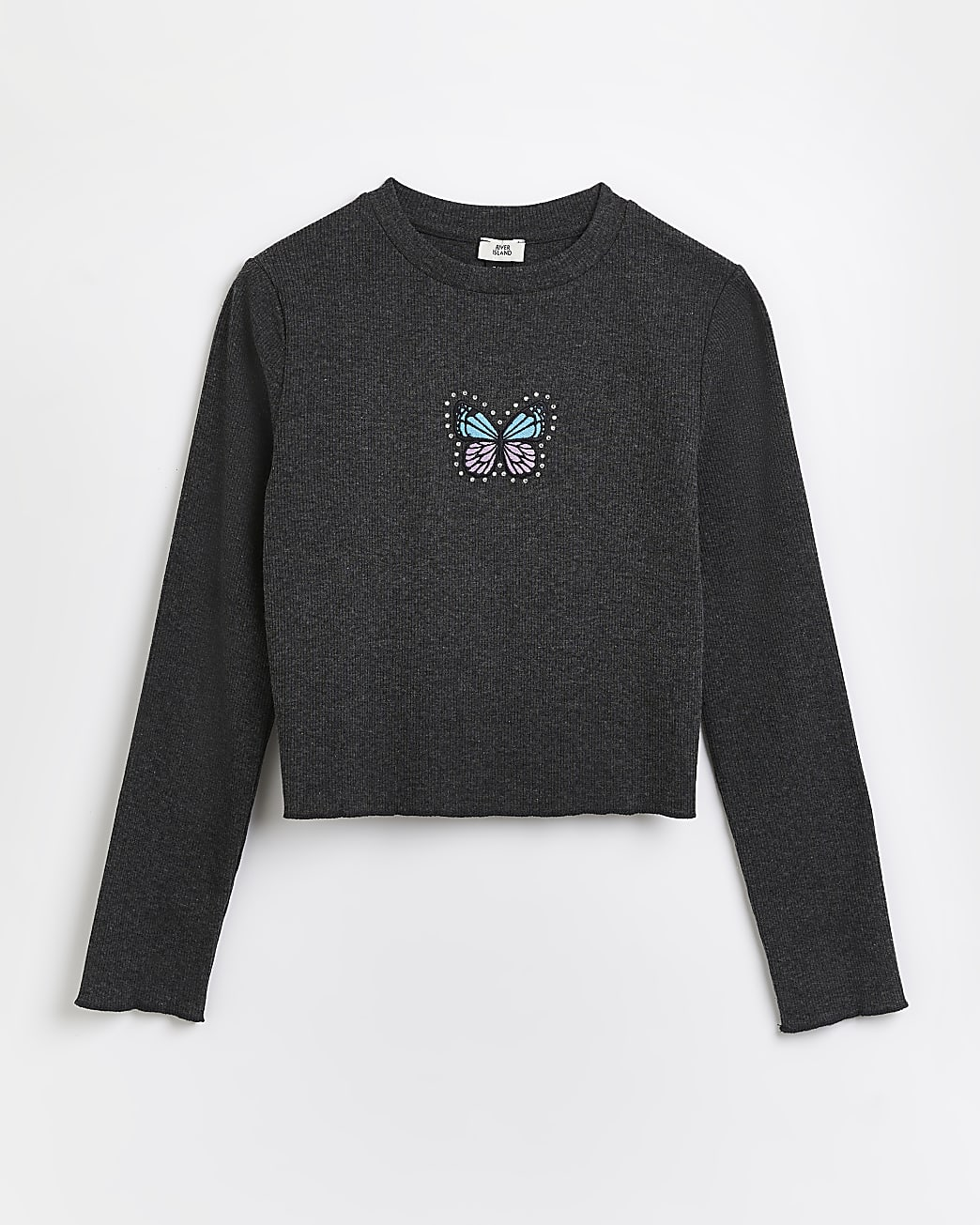 Girls grey butterfly embellished rib top