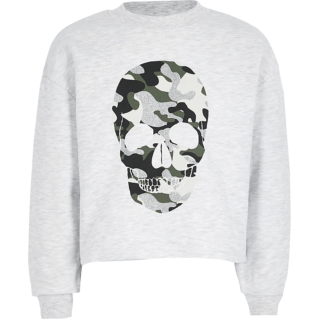 Girls grey camo skull printed sweatshirt