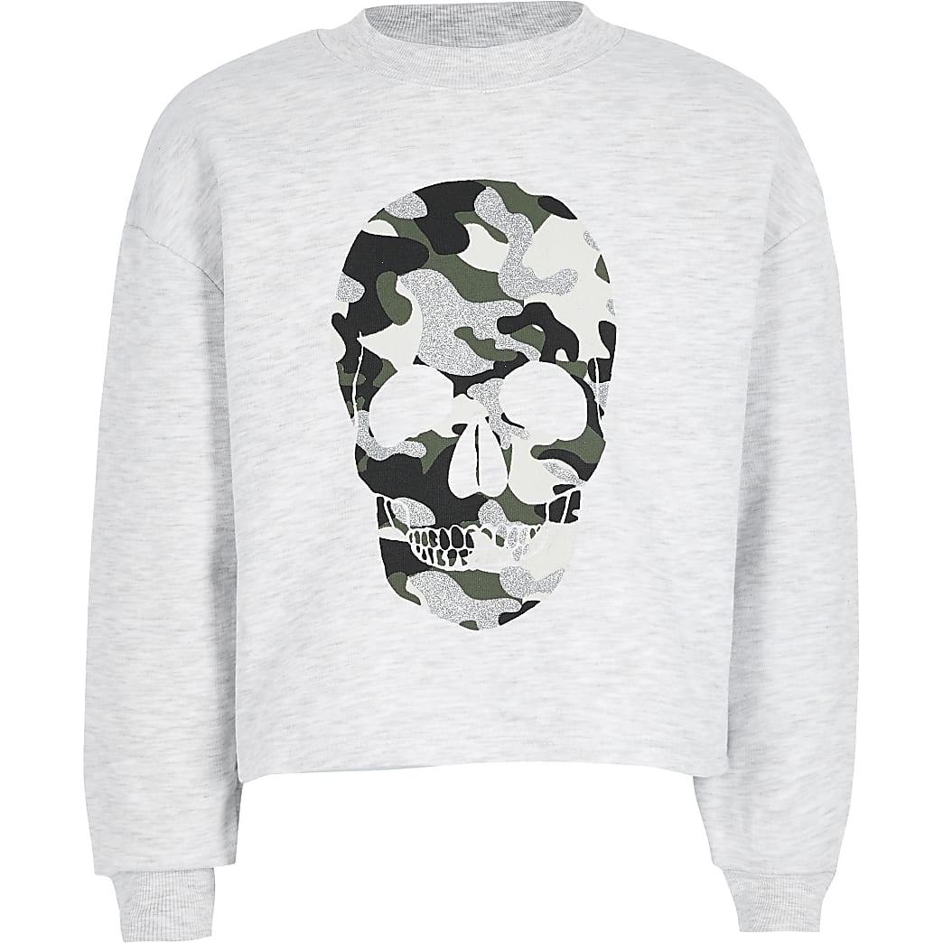 Grijze sweater met camouflage- en doodshoofdprint voor meisjes