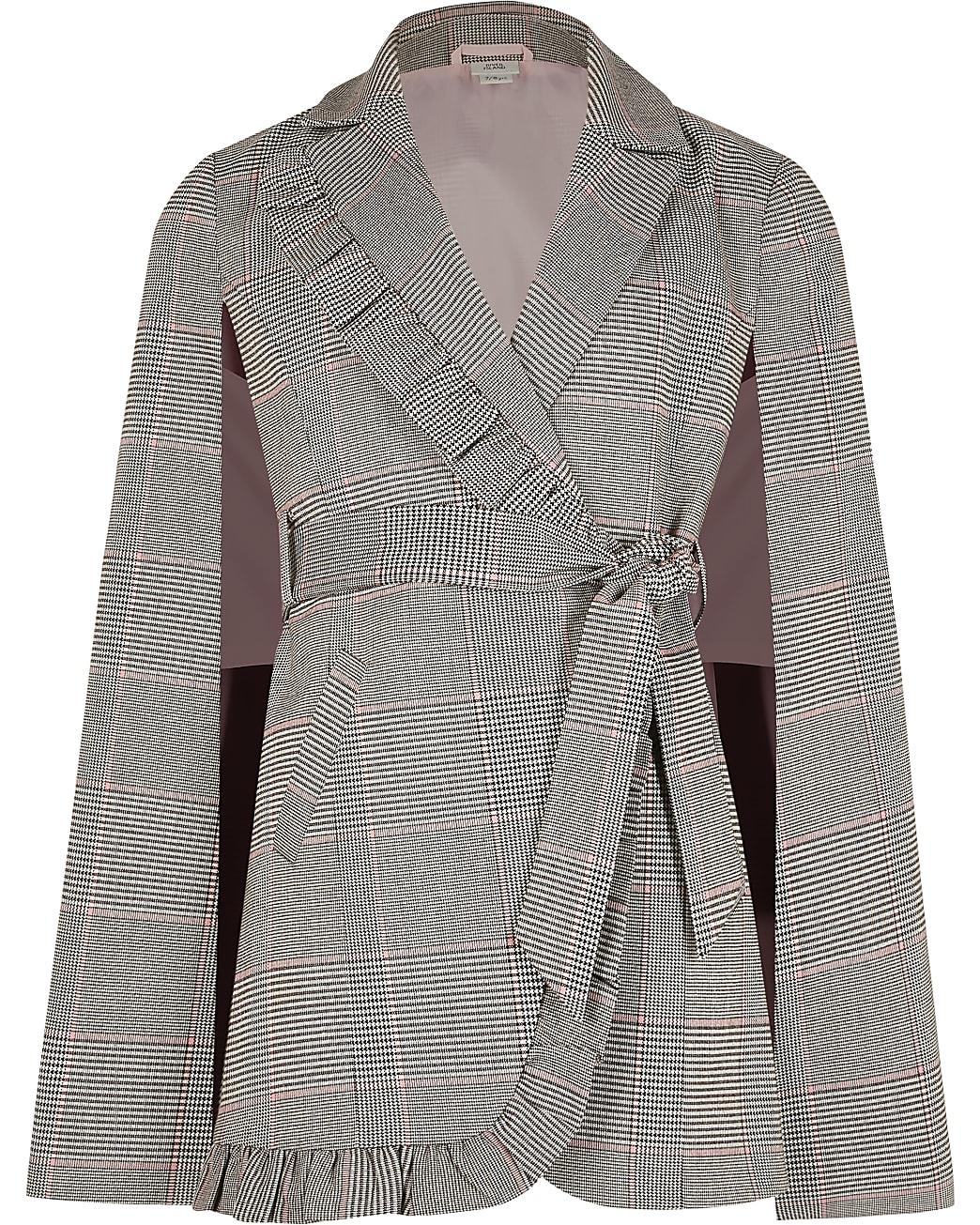 Girls grey check print frill cape blazer