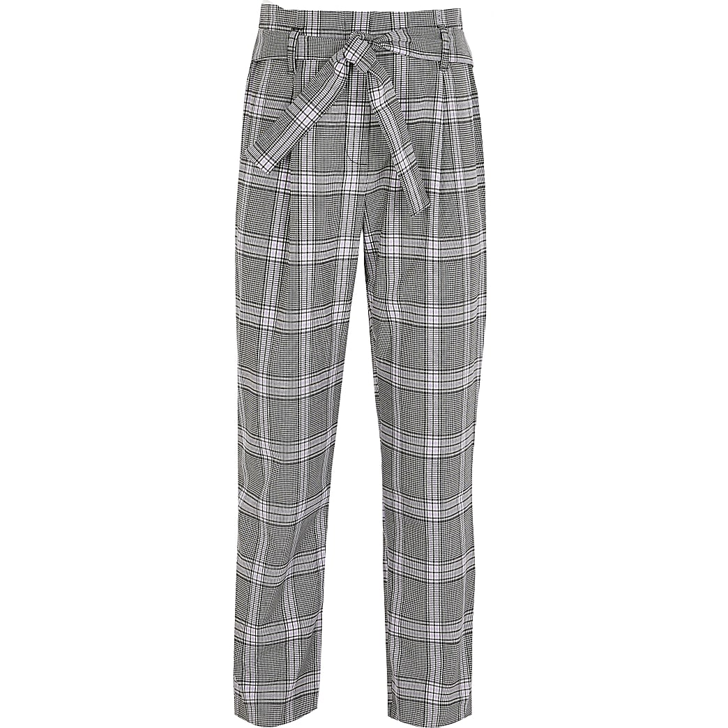 Girls grey check trousers