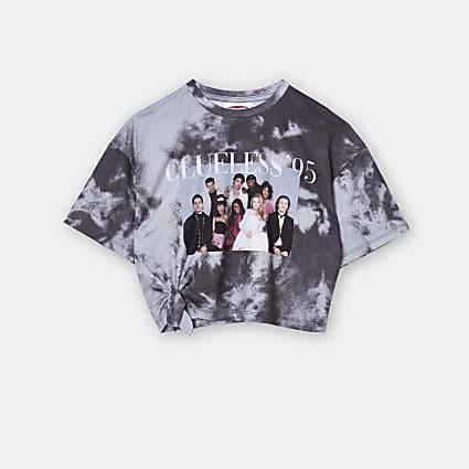 Girls grey 'Clueless '95 tie dye t-shirt