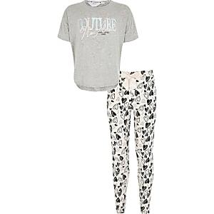 Grijze pyjama met 'Couture'-print voor meisjes