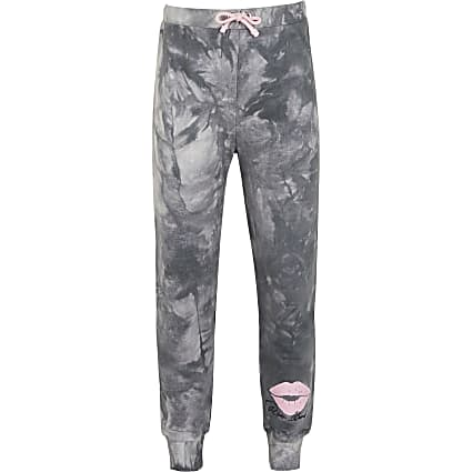 Girls grey dark tie dye joggers