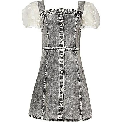 Girls grey denim pinny organza sleeve dress