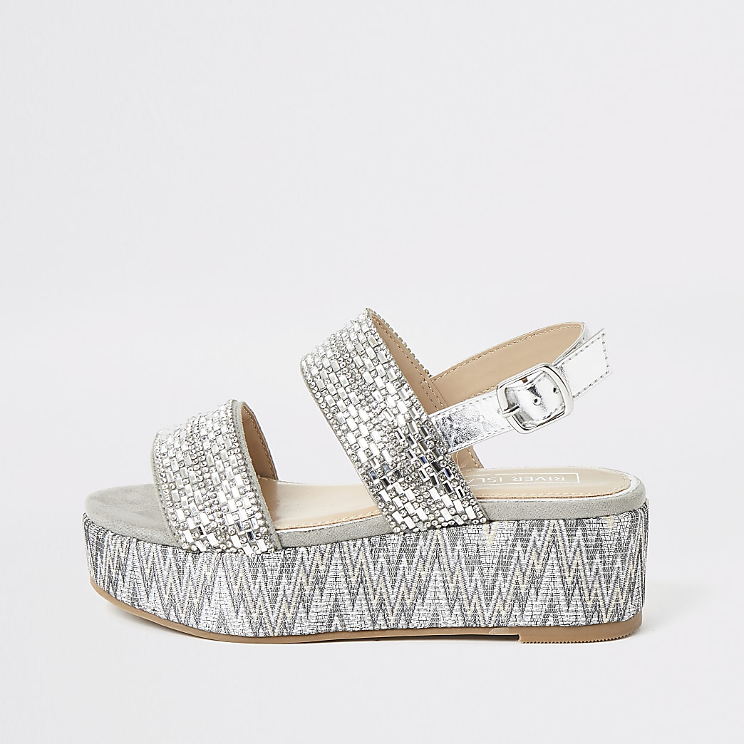 Girls grey diamante flatform sandals