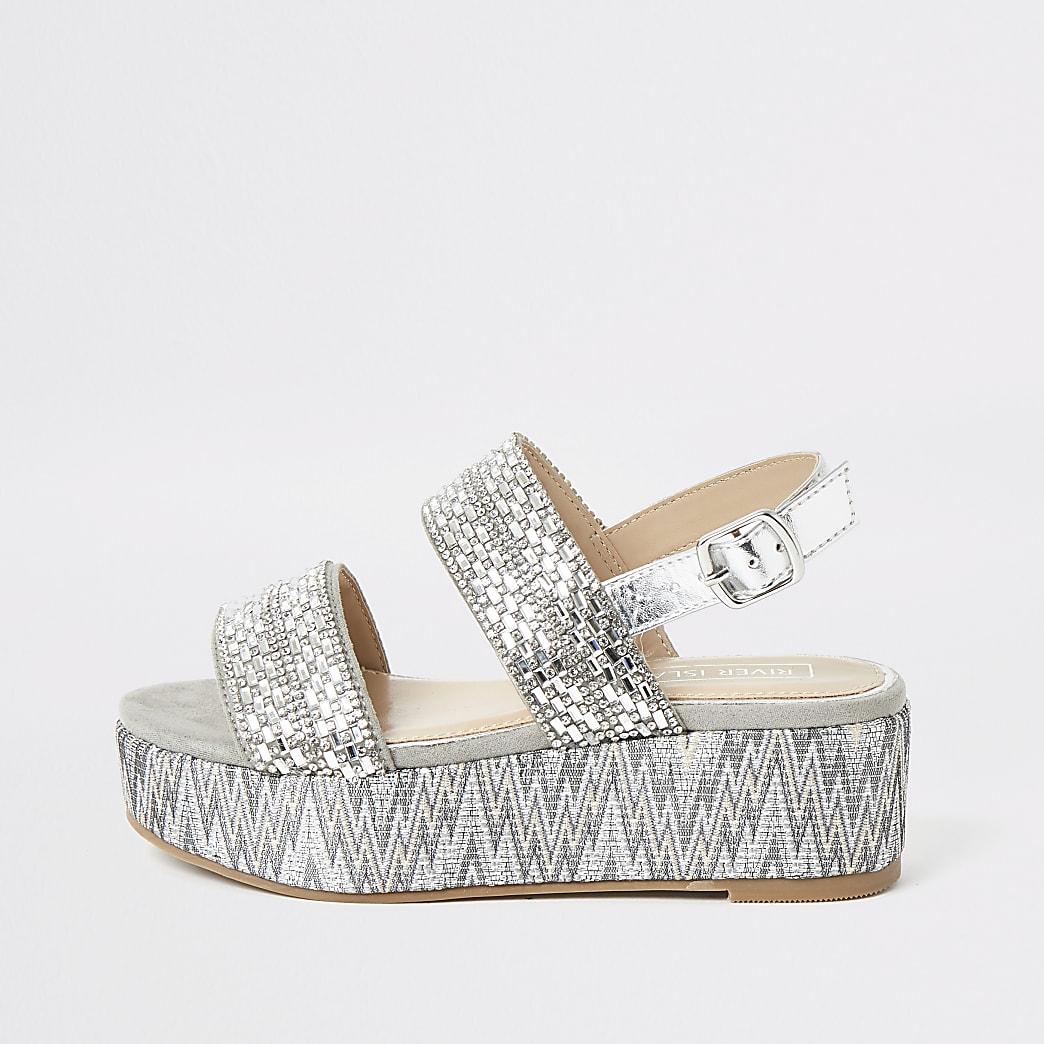Grijze sandalen met plateauzool en siersteentjes voor meisjes