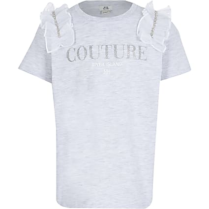 Girls grey diamante mesh t-shirt