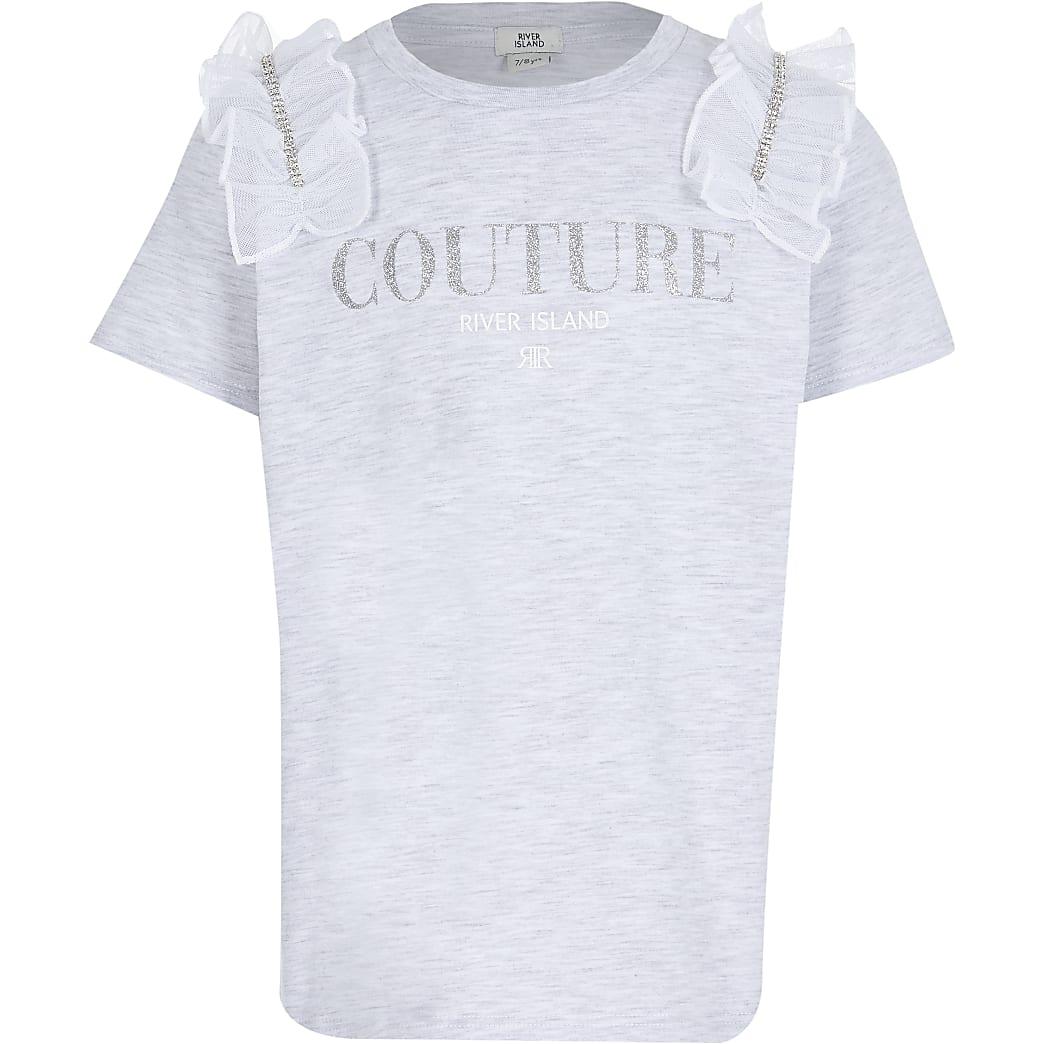 Girls grey diamante mesh t-shirt