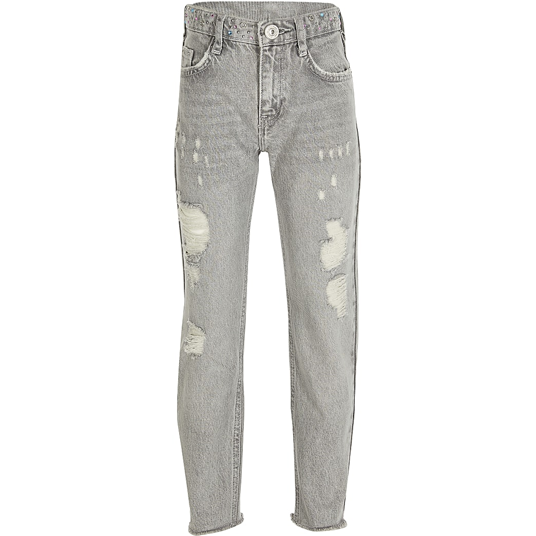 Girls grey diamante waist straight leg jeans