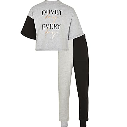 Girls grey 'Duvet day' pyjama set
