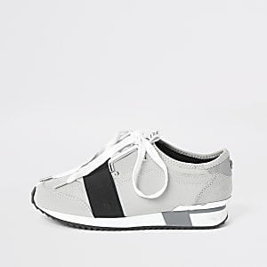 Girls grey elasticated lace-up trainers