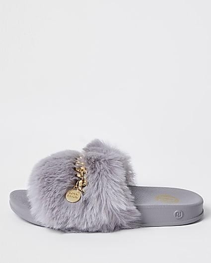 Girls grey faux fur chain sliders