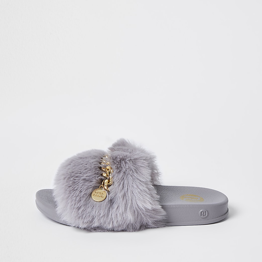 Girls grey faux fur chain sliders
