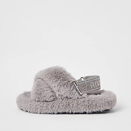 Girls grey faux fur diamante trim slippers
