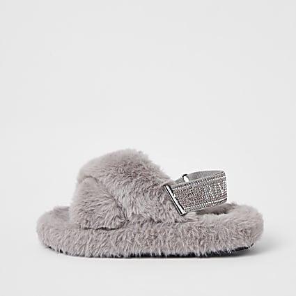 Girls grey faux fur diamante trim slippers