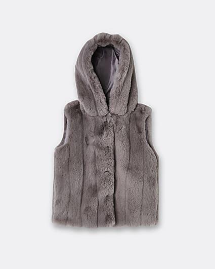 Girls grey faux fur hooded gilet