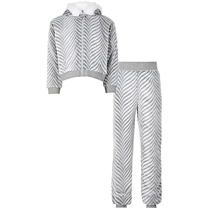 Girls grey faux fur pyjamas set