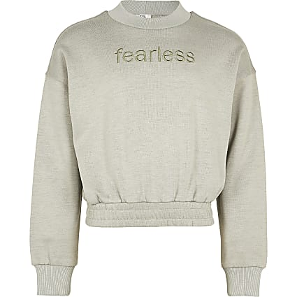 Girls grey 'Fearless' sweatshirt
