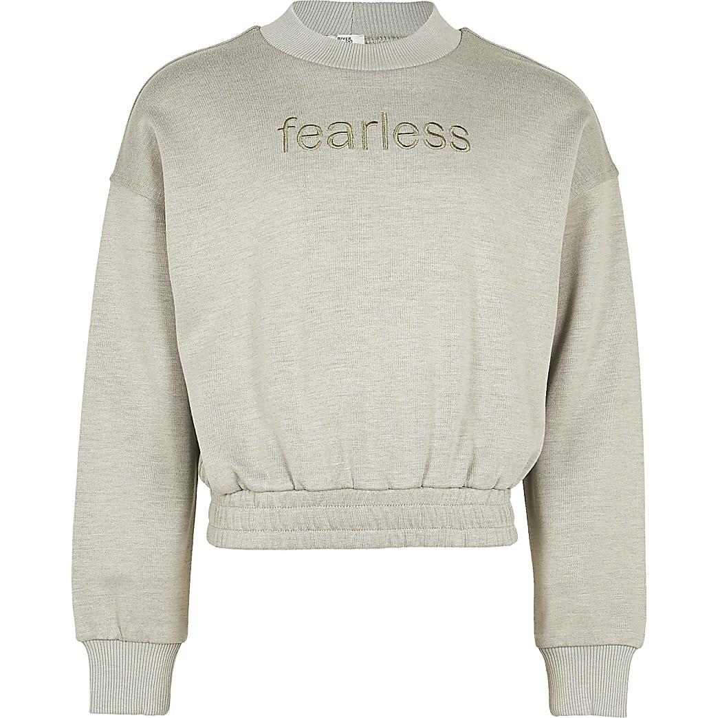 Girls grey 'Fearless' sweatshirt