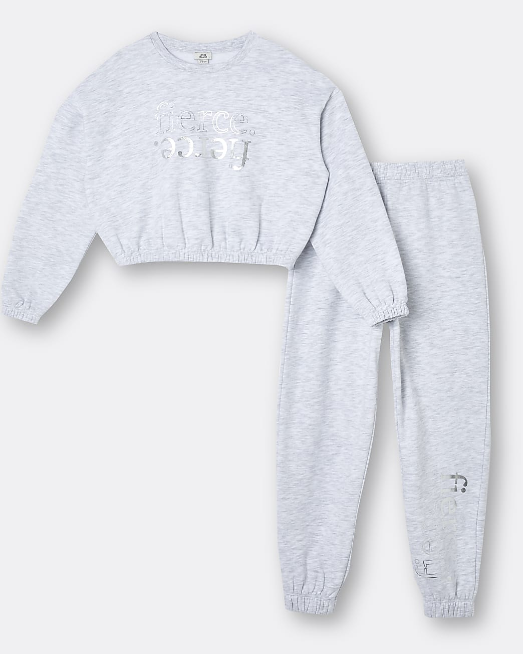 Girls grey 'Fierce' cinch sweatshirt outfit