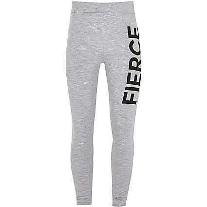 Girls grey 'Fierce' foldover leggings