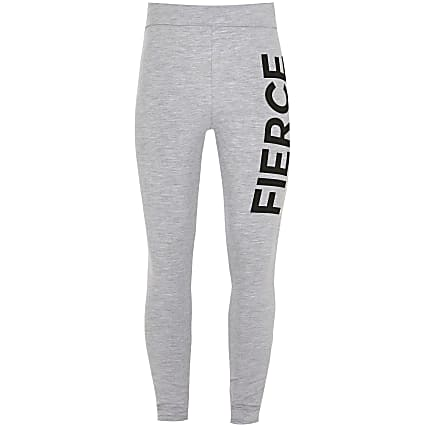 Girls grey 'Fierce' foldover waist leggings