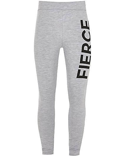 Girls grey 'Fierce' foldover waist leggings